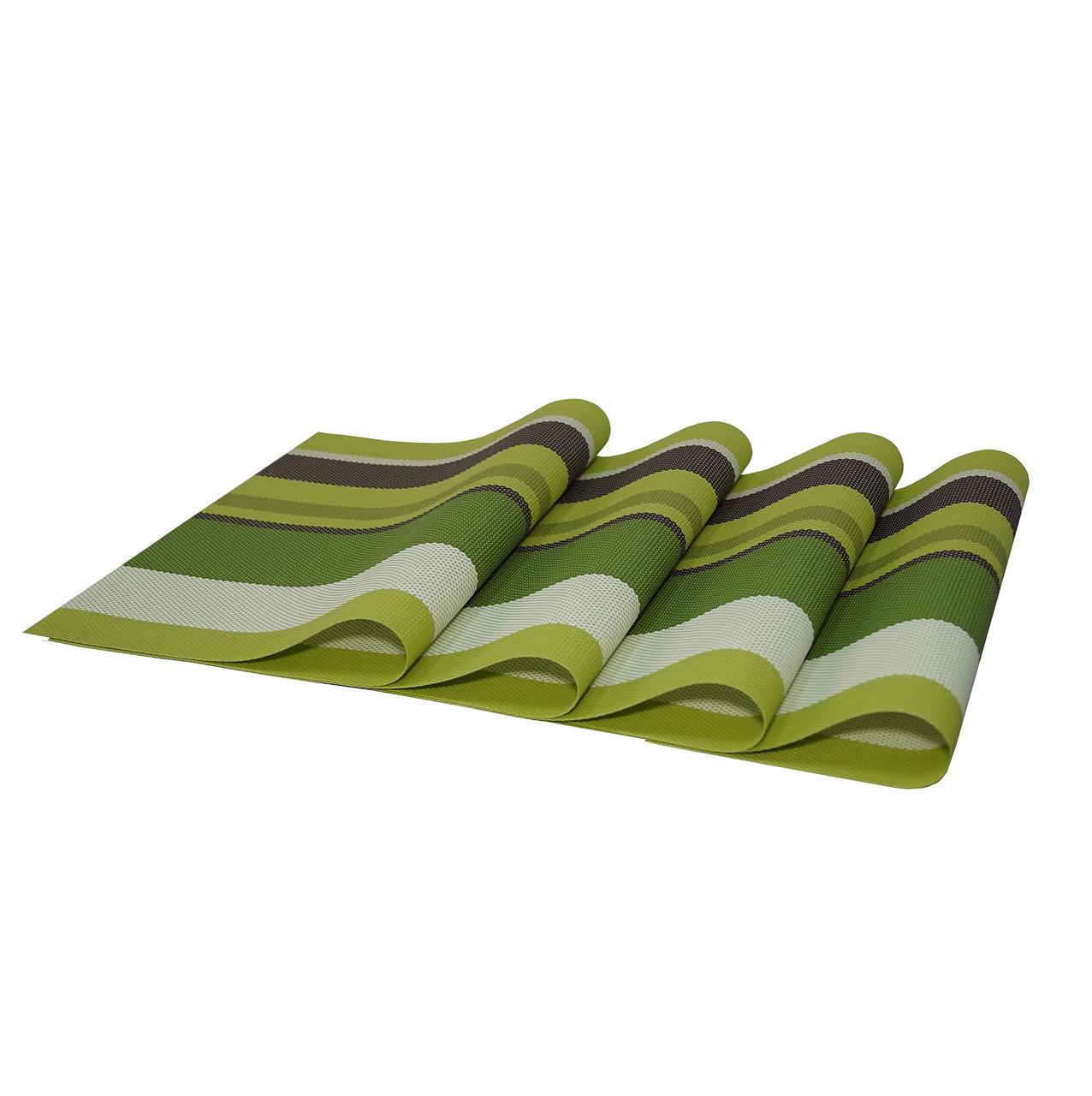 Коврики под тарелки, сервировочные, подставки под горячее, 4 шт., цвет - Салатово-зеленый (ST)