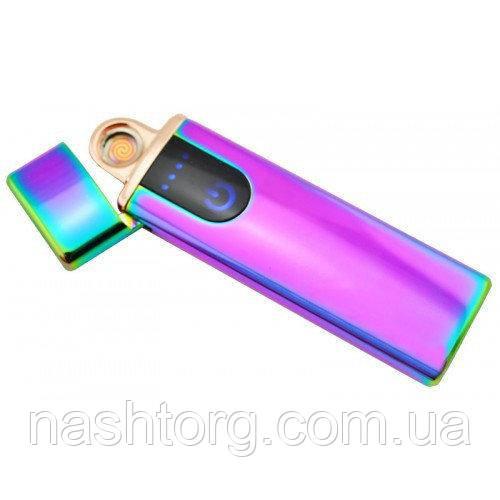 Спиральная сенсорная электрозажигалка с зарядкой USB (Хамелеон) - електронна запальничка (4779)