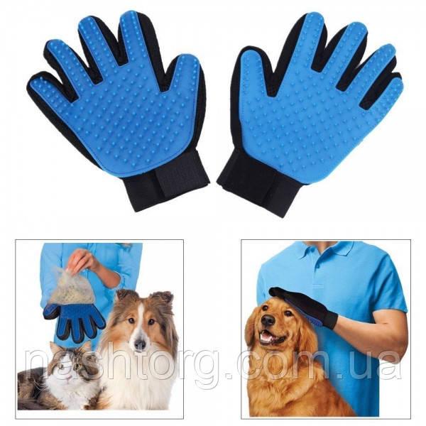 Deshedding Glove для вычесывания шерсти животных перчатка для котов и собак True Touch чесалка