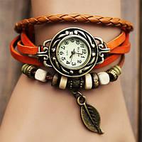 Женские часы браслет, наручные, с ремешком, цвет - оранжевый