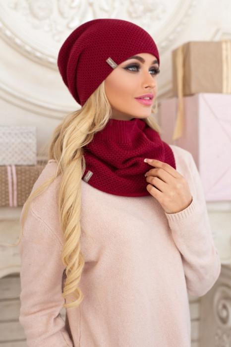 Комплект шапка и шарф-снуд Жаклин, бордовый