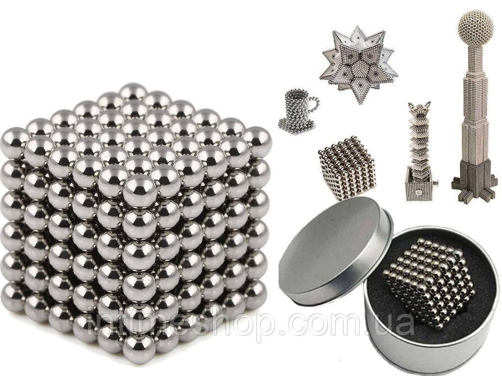 Конструктор из магнитных шариков, Неокуб Серебристый 216 шт*5мм, игрушка магнитные шарики (TI)