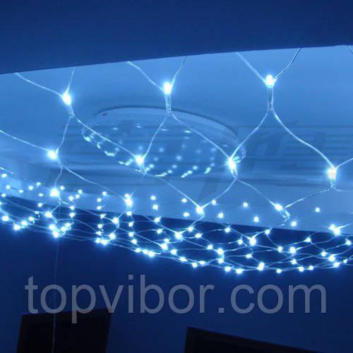 Гирлянда сетка новогодняя 180 LED (светодиодная), цвет - голубой, с доставкой по Киеву и Украине