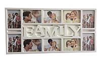 Мультирамка Family, декоративная, на 10 фото, цвет - белый
