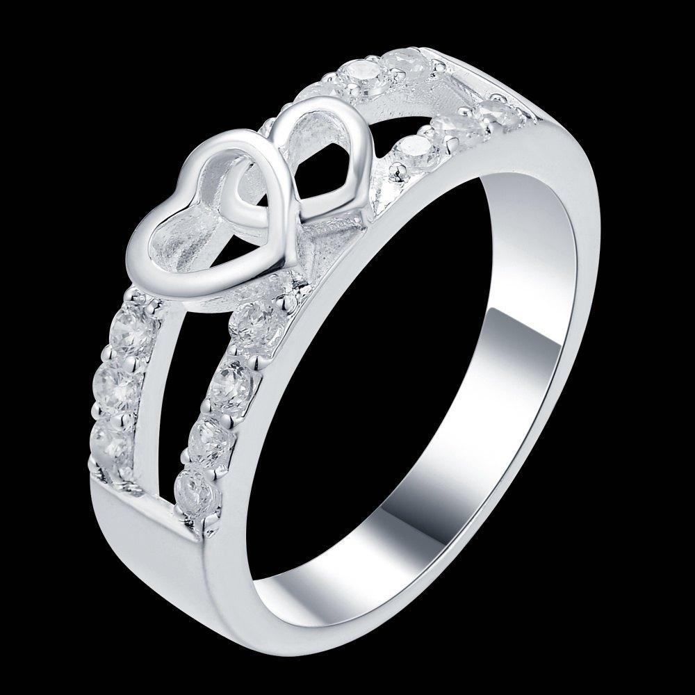 Шикарний перстень у сріблі 925 з фіанітами серце, 17 р. Белінда