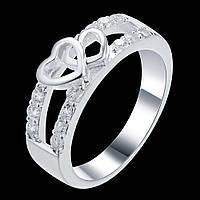 Шикарний перстень у сріблі 925 з фіанітами серце, 17 р. Белінда, фото 1