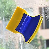 Розпродаж! Двостороння щітка для миття вікон Double Side Glass Cleaner - 12 див., магнітний скребок для скла