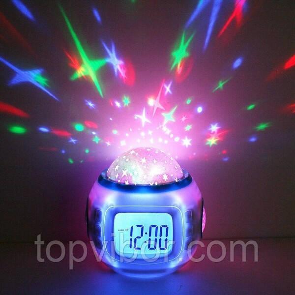 Будильник ночник проектор звездное небо Starry Sky Cаlendar музыкальные часы c проектором звезд