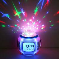 Будильник ночник проектор звездное небо Starry Sky Cаlendar музыкальные часы c проектором звезд, фото 1
