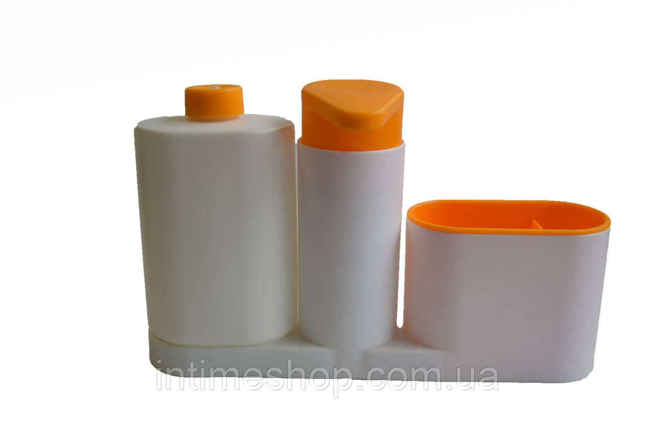 Органайзер в ванную, Sink Tidy Sey Plus, диспенсер для мыла, держатель для зубных щеток, оранжевый