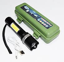 Мощный тактический аккумуляторный LED фонарь USB COP BL-9626 светодиодный фокусировка луча