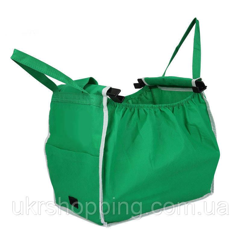🔝 Складна сумка для покупок Grab Bag Snap-on-Cart Shopping Bag, з доставкою по Україні   🎁%🚚