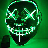 Маска Хэллоуин из Судной ночи (Зеленая) светодиодная страшная для хэллоуина  LED  (маски на хеловін)
