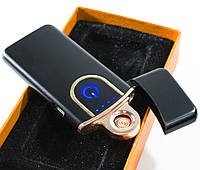 Электрозажигалка спиральная аккумуляторная Classic Fashionable, Черная Глянец, USB зажигалка, 6746