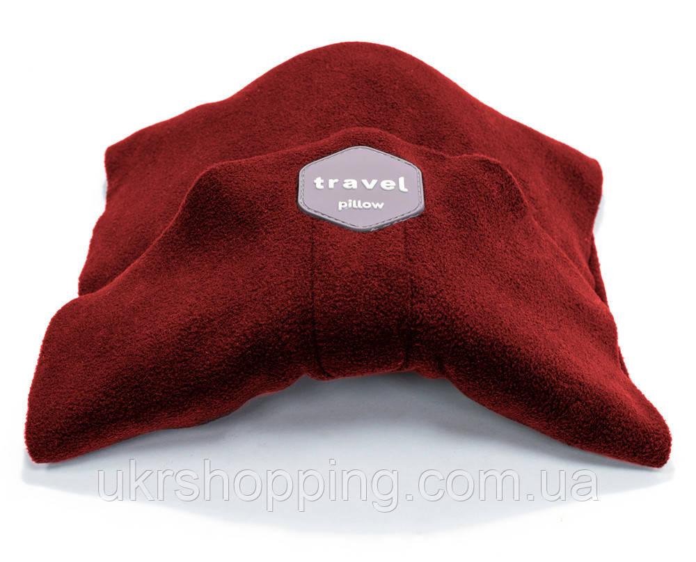 Дорожная ортопедическая подушка для путешествий Travel Pillow - Красная, с доставкой по Украине