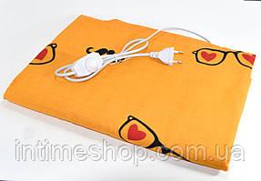 Электрическая грелка Чудесник Оранжевая с сердечками с регулятором температуры 40х50 см электрогрелка (TI)