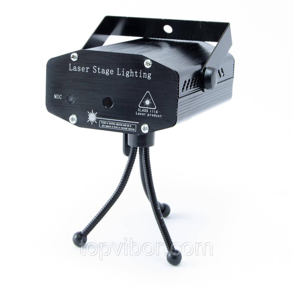 Лазерный проектор для световых эффектов, Mini Laser Stage HJ Чёрный, лазерная гирлянда, светомузыка
