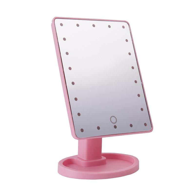 Распродажа! Зеркало для макияжа с подсветкой, Magic Makeup Mirror (22 LED), косметическое, в раме, розовое