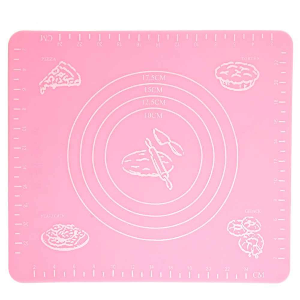 Коврик для выпечки, и раскатывания теста, силиконовый, антипригарный, 29x26 см., цвет - розовый (ST)