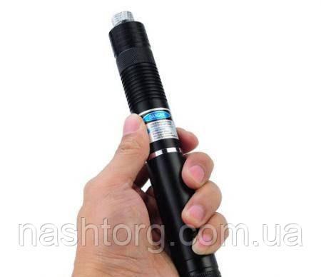 Мощная лазерная указка с насадками Синяя, Laser HB-G008 50 mW, мощный лазер c доставкой