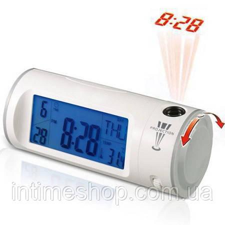 Цифровые проекционные часы Chaowei CW8097 белый корпус, оранжевая стенка