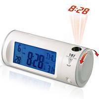 Цифровые проекционные часы Chaowei CW8097 белый корпус, оранжевая стенка, фото 1