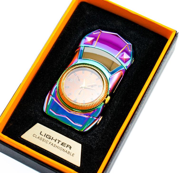 Спіральна подарункова електрозапальничка з годинником Машина, 813 Коричневий циферблат, запальничка від USB