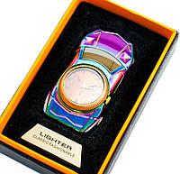 Спіральна подарункова електрозапальничка з годинником Машина, 813 Коричневий циферблат, запальничка від USB, фото 1
