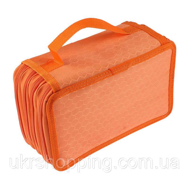 Пенал книжка, раскладной, на 4 отделения, цвет - оранжевый, (доставка по всей Украине)