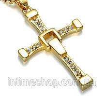 Крест Доминика Торетто с цепочкой Золотой, крестик Вин Дизеля | хрест Домініка Торетто з ланцюжком (TI)