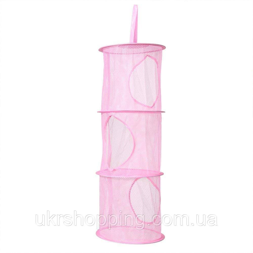 Подвесная сетка для хранения игрушек на три уровня, розовый, с доставкой по Киеву и Украине