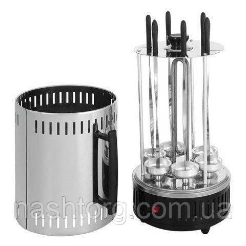Электрошашлычница электрическая на 6 шампуров вертикальная настольная Вкусный Аромат!