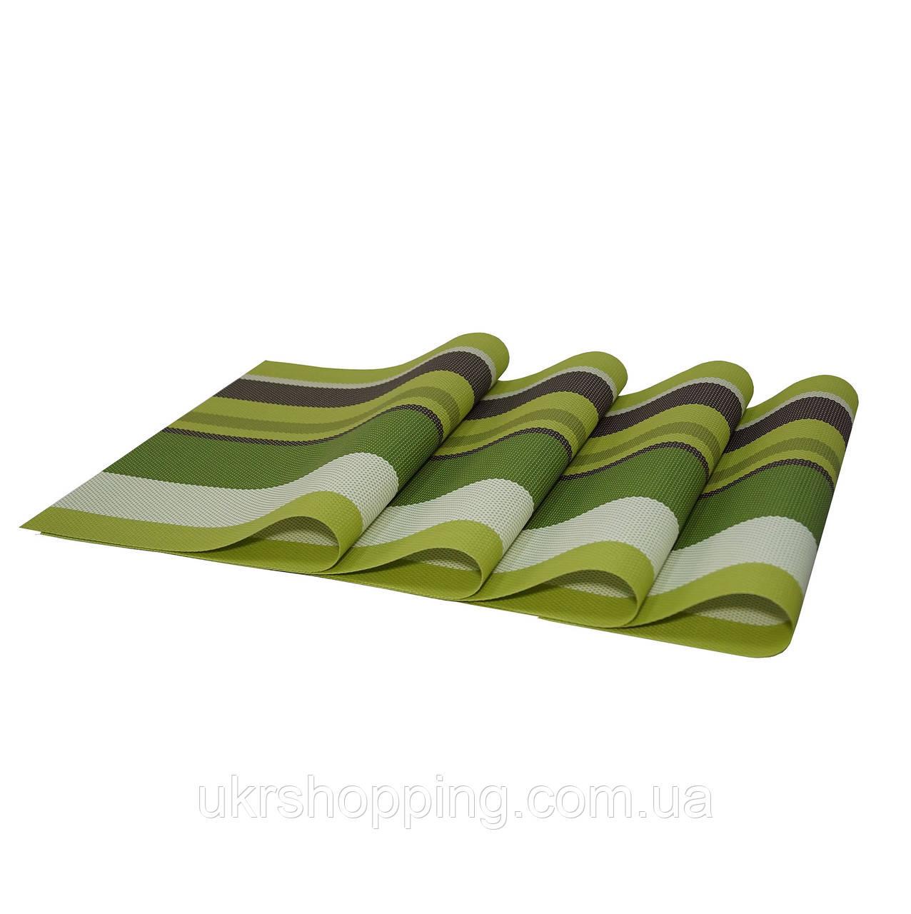 Коврики под тарелки, сервировочные, подставки под горячее, 4 шт., цвет - Салатово-зеленый