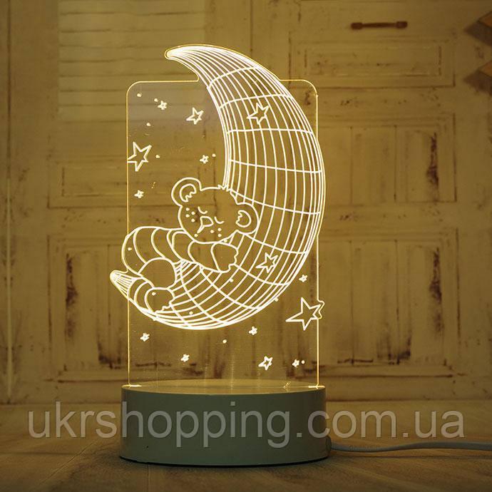 🔝 LED світильник, бра, Ведмідь на Місяці, (доставка по Україні) | 🎁%🚚