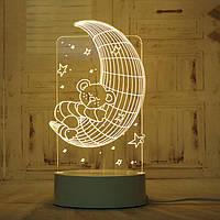 🔝 LED світильник, бра, Ведмідь на Місяці, (доставка по Україні) | 🎁%🚚, фото 1