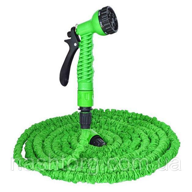 Распродажа! Поливочный шланг с распылителем X-hose (Икс Хоз) Magic Hose на 60 метров - зелёный