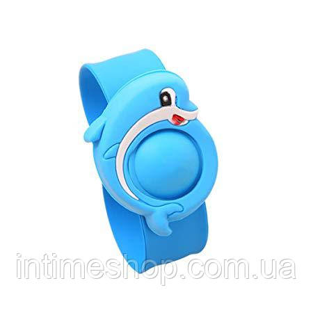 Антимоскитный браслет, отпугиватель комаров, репеллент, для детей, цвет - голубой (Дельфин)