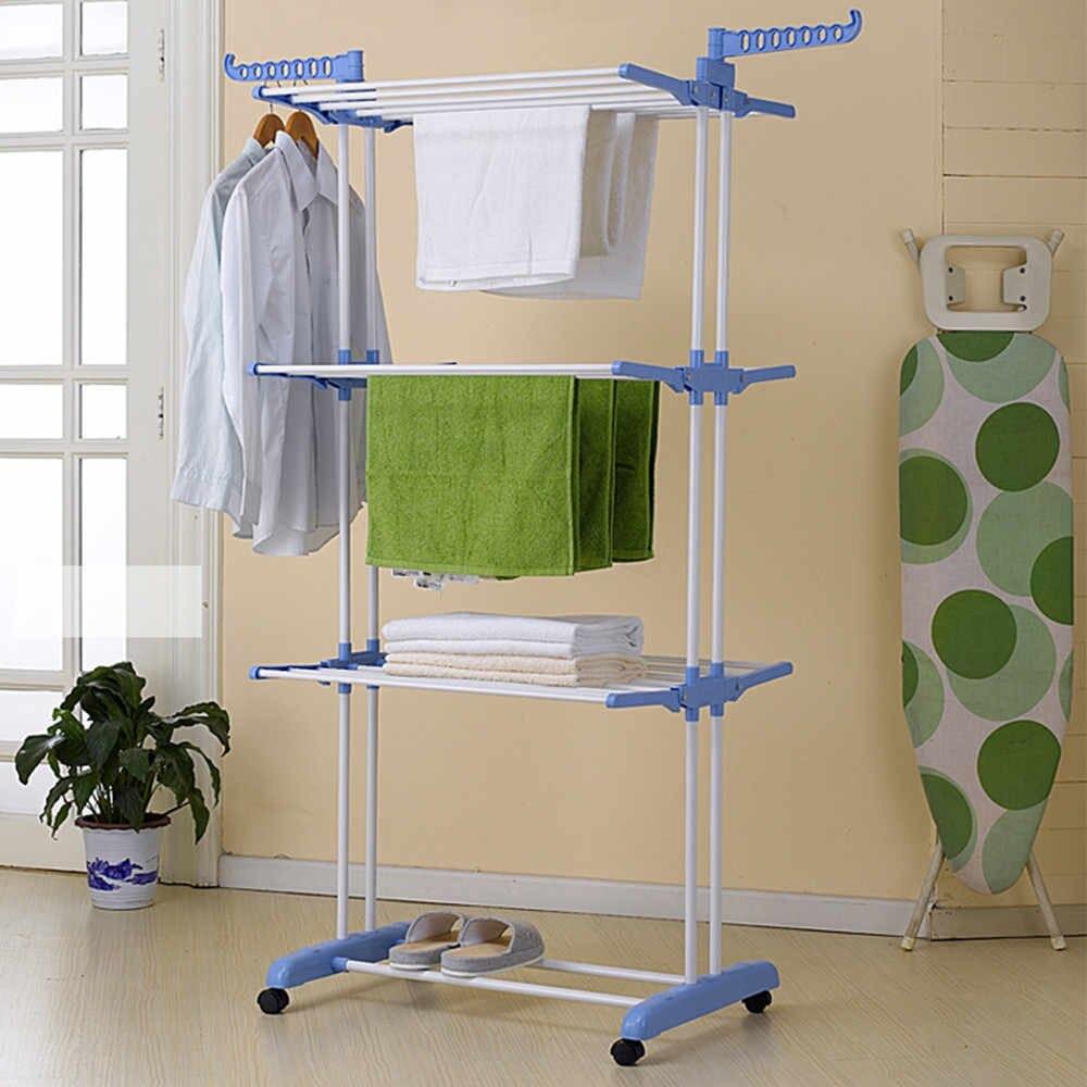 Универсальная складная напольная сушилка для одежды (вещей и белья) вертикальная, на 3 яруса, синяя (ST)