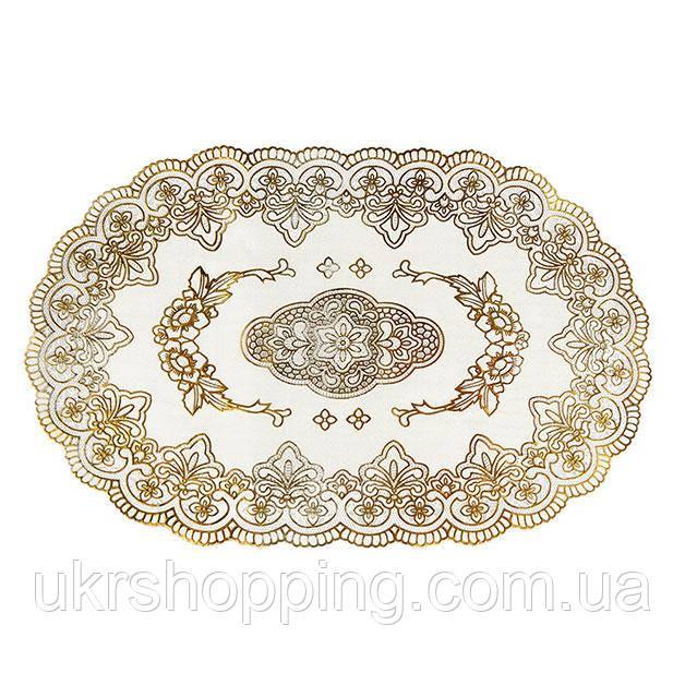 Овальная салфетка с золотым декором, для украшения стола