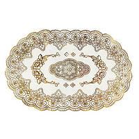 Овальная салфетка с золотым декором, для украшения стола, фото 1