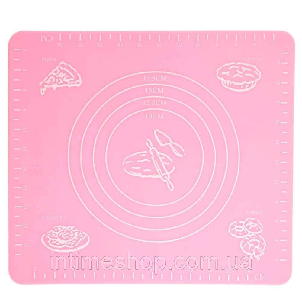 Коврик для выпечки, и раскатывания теста, силиконовый, антипригарный, 29x26 см., цвет - розовый (TI)