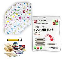 Вакуумные пакеты для хранения вещей и одежды - набор (5 пакетов/уп.) с насосом - вакуумная упаковка, фото 1