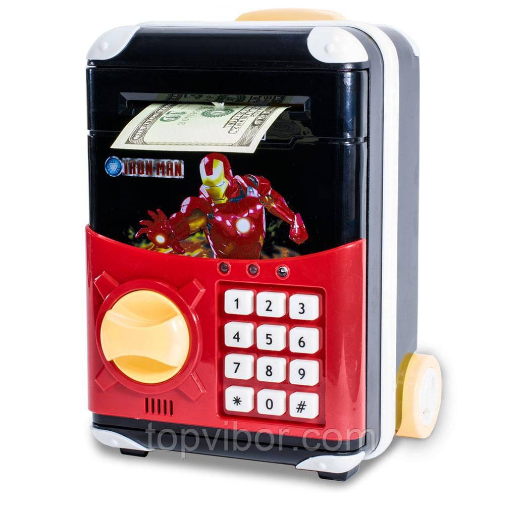 Розпродаж! Дитячий іграшковий сейф з електронним кодовим замком Супергерої Айронмен, дитяча скарбничка