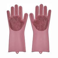 Силіконові рукавички для миття посуду господарські для кухні Silicone Magic Gloves світло-рожеві