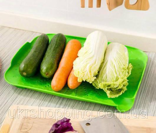🔝 Підставка сушарка для фруктів та овочів посуду, друшляк-килимок для раковини, Зелений | 🎁%🚚