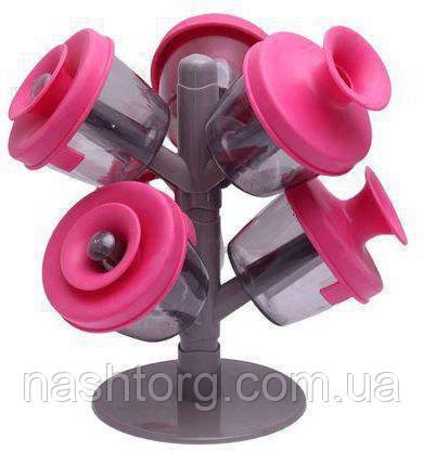 Баночки для специй, «Дерево трав и специй», 6 шт., емкости для приправ - розовый цвет