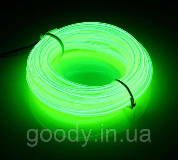Гнучкий світлодіодний неон Зелений Neon Glow Light Green - 3 метра стрічки на батарейках 2 AA