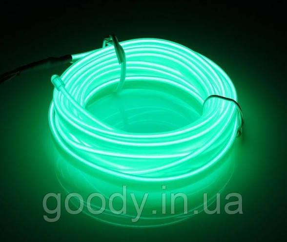 Гнучкий світлодіодний неон зелений Флуоресцентний Neon Glow Fluorescent Light - 3 метра стрічки на батарейках