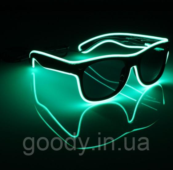 Окуляри світлодіодні сонцезахисні El Neon ray green fluorescent неонові