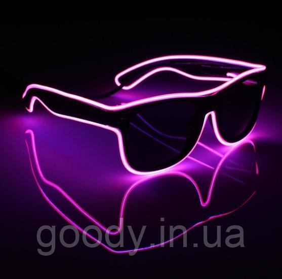 Окуляри світлодіодні сонцезахисні El Neon Ray Pink (неонові)